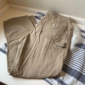 Carhartt canvas khaki work pants for women